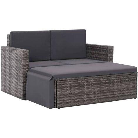 2-tlg. Garten-Lounge-Set mit Auflagen Poly Rattan Grau
