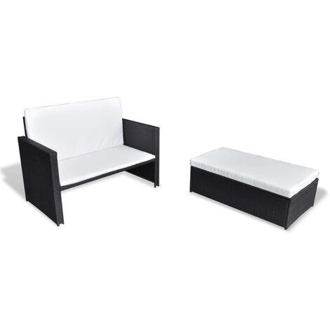2-tlg. Garten-Lounge-Set mit Auflagen Poly Rattan Schwarz
