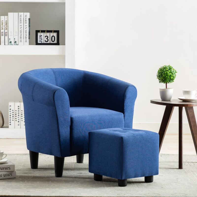 Vidaxl - 2-tlg. Sessel Hocker Set Stoff Blau