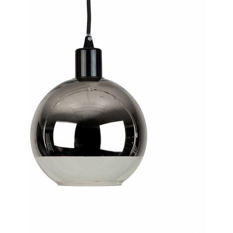 2 Tone Chrome & Clear Glass Globe Ball Ceiling Pendant Light Shade + Black Ceiling Flex Lamp Holder Pendant Light
