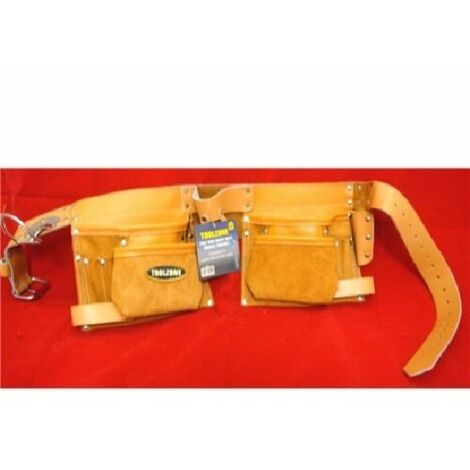2 Tone H/D 10 Pocket Leather Double Tool Belt / Pouch With Metal Roller Buckle