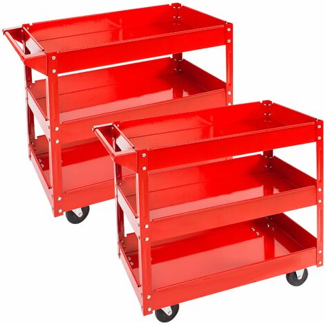2 tool trolleys with 3 shelves - heavy duty trolley, warehouse trolley, metal trolley - red