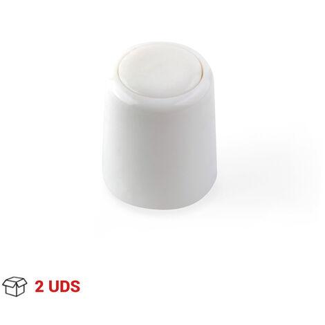 2 Tope de puerta para suelo o pared atornillable marca REI, fabricado en plástico, con acabado blanco y forma cilíndrica