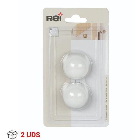 2 Topes de puerta adhesivo marca REI, fabricado en plástico, con acabado blanco y diseño redondeado