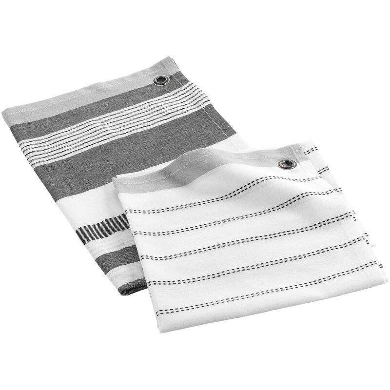 Douceur D'intérieur - Lot de 2 torchons en coton tissé - Tailles différentes - Harold - Gris - Livraison gratuite