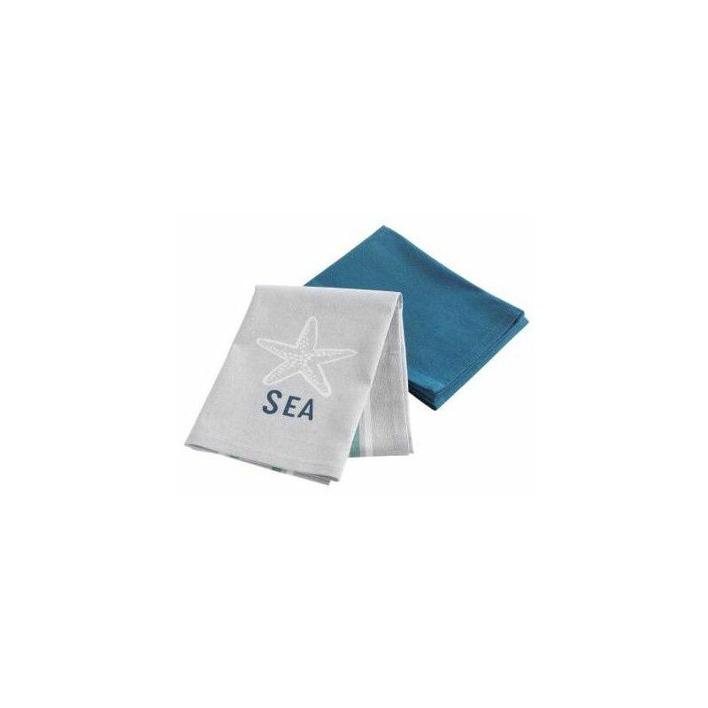 Douceur D'intérieur - Lot de 2 torchons en coton - 50 x70 cm - Cap Ouest - Livraison gratuite