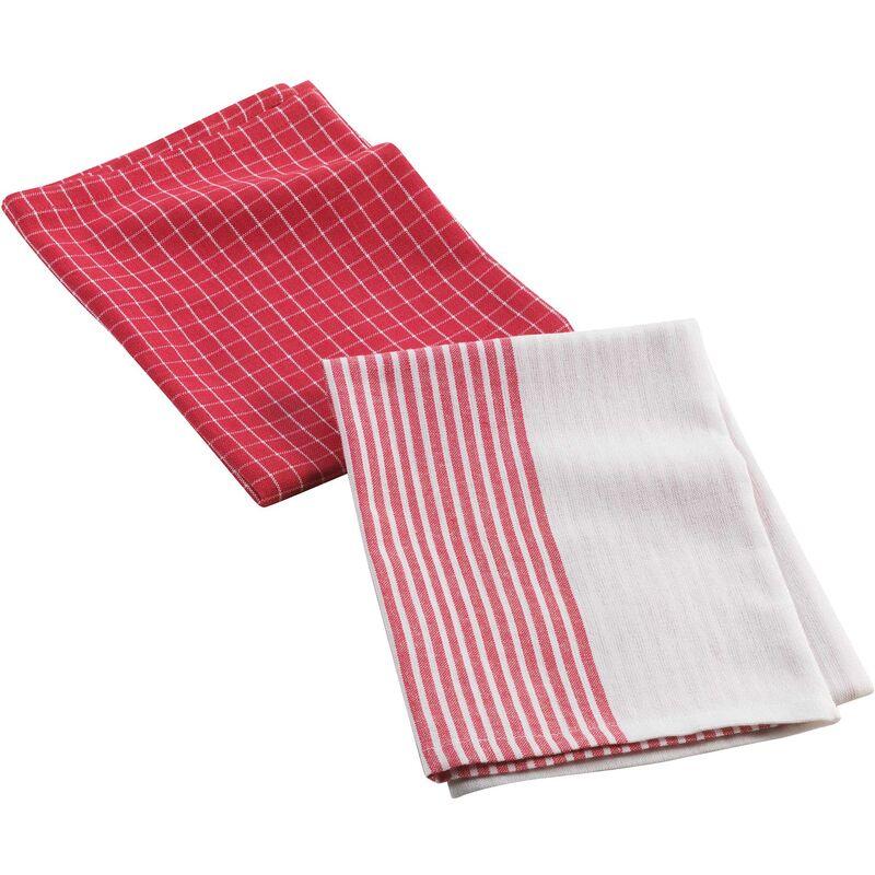 2 torchons 50 x 70 cm coton tisse au bistrot Rouge
