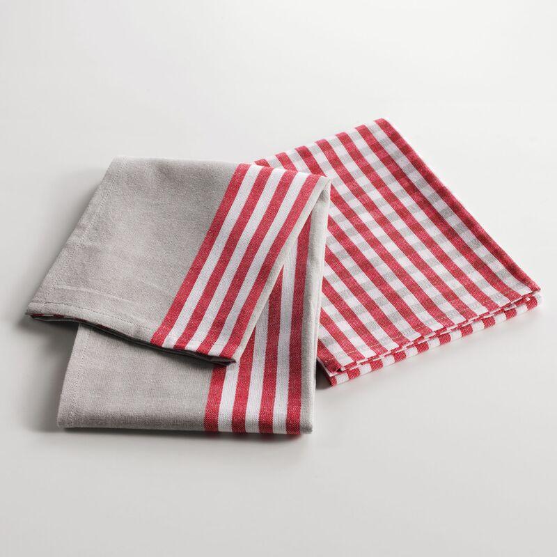 Douceur D'intérieur - 2 torchons 50 x 70 cm coton tisse chef etoile Rouge