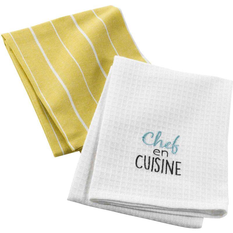 Douceur D'intérieur - 2 torchons 50 x 70 cm coton tisse/nid abeille brode chef en cuisine Jaune