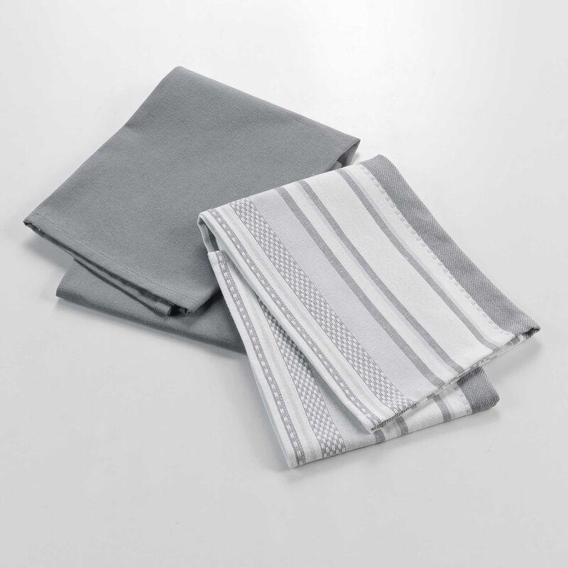 Douceur D'intérieur - Lot de 2 torchons en polycoton - 50 x 70 cm - Santorini - Gris et Blanc - Livraison gratuite