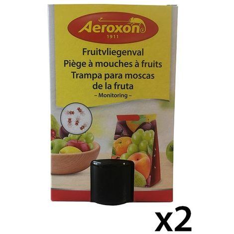 2 Trampas de cola para moscas de la fruta AEROXON - Incluye 2 Frascos 40 ml de atrayente natural