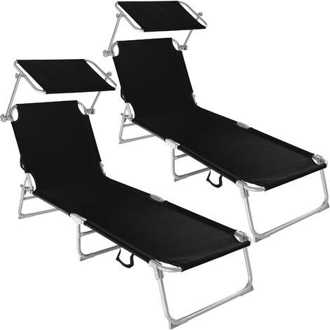 """main image of """"2 tumbonas con 4 posiciones - tumbona de jardín plegable, mueble para patio con respaldo ajustable, asiento de terraza impermeable"""""""
