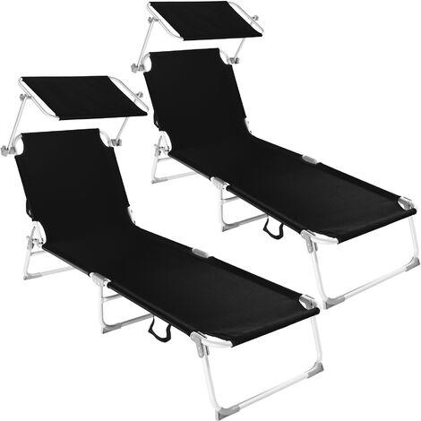 2 tumbonas de aluminio Viktoria con 4 posiciones - tumbona de jardín plegable, mueble para patio con respaldo ajustable, asiento de terraza impermeable