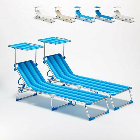 2 Tumbonas de playa plegable portátil aluminio CALIFORNIA