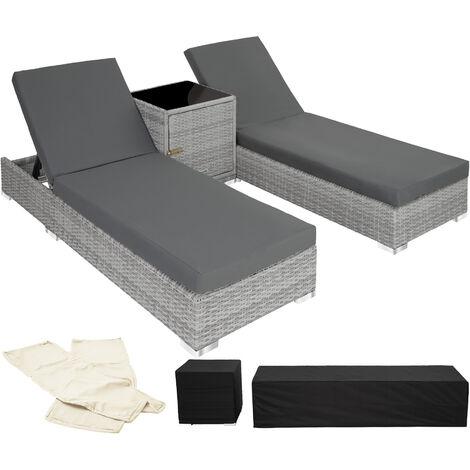2 tumbonas de poli ratán y aluminio + mesa - tumbona de poliratán para jardín, muebles de ratán sintético con cojines y fundas, asientos de jardín con estructura de aluminio