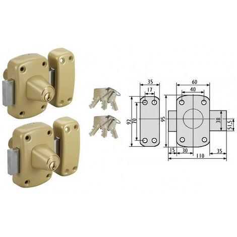 2 Verrous à cylindre s'entrouvrant Cyclop cyl 45 mm VACHETTE
