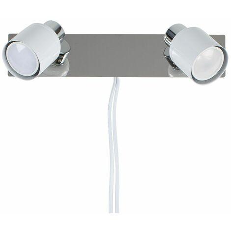 2 Way Adjustable Wall Spotlight + Plug, Cable & Switch