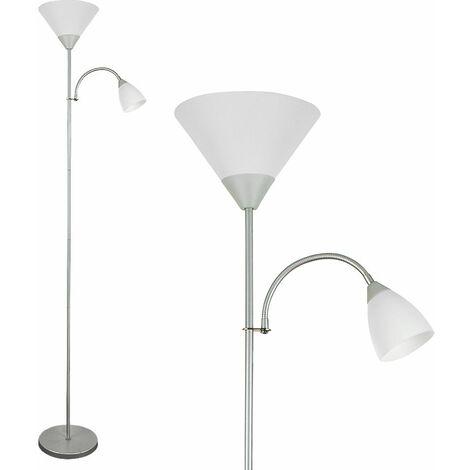2 Way Parent & Child Uplighter & Spotlight Floor Lamp - Silver - Silver