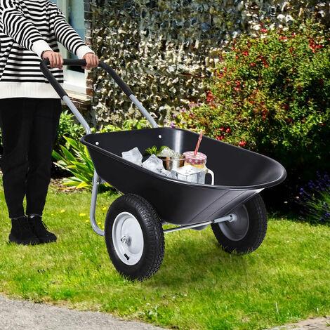 "main image of ""2-Wheeled Wheelbarrow Heavy Duty Garden Cart with 33cm Pneumatic Tires & Handlle"""