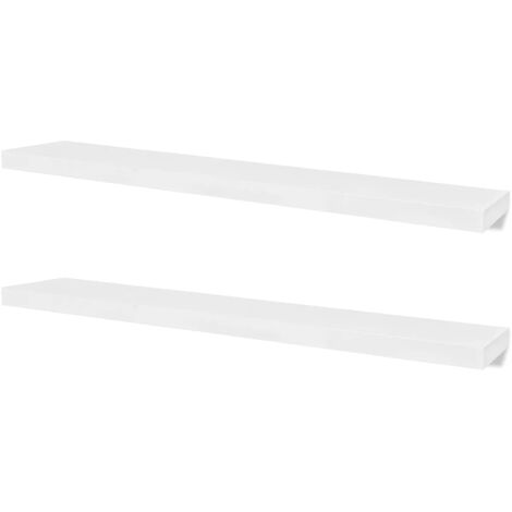 2 White MDF Floating Wall Display Shelves Book/DVD Storage