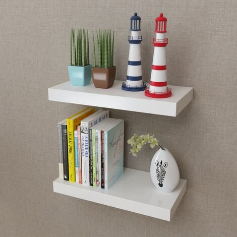 2 White MDF Floating Wall Display Shelves Book/DVD Storage Home Indoor Living Room Storage Cube Shelves Organiser Decorative Wall Storage Display Shelves