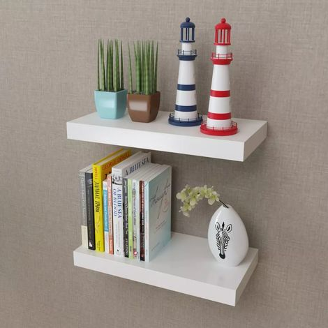 2 White MDF Floating Wall Display Shelves Book/DVD Storage VD09113