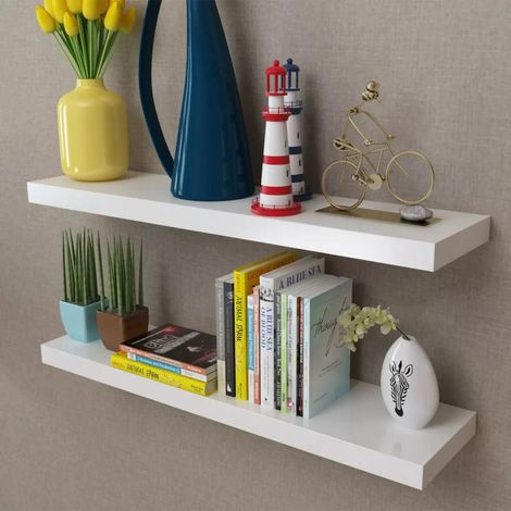 2 White MDF Floating Wall Display Shelves Book/DVD Storage VD09115