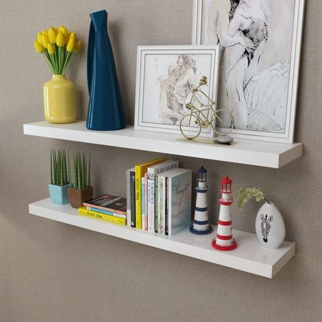 2 White MDF Floating Wall Display Shelves Book/DVD Storage VD09116