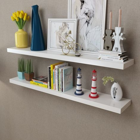 2 White MDF Floating Wall Display Shelves Book/DVD Storage VD09117