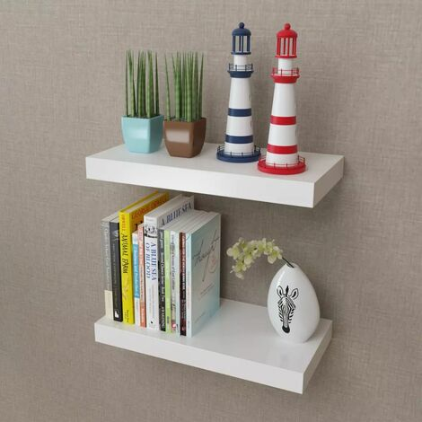 2 White MDF Floating Wall Display Shelves Book/DVD Storage VDTD09113