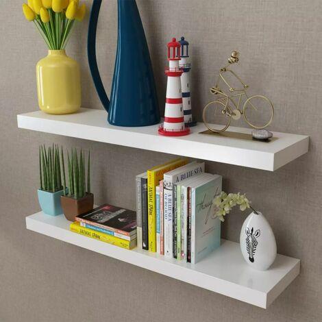 2 White MDF Floating Wall Display Shelves Book/DVD Storage VDTD09115
