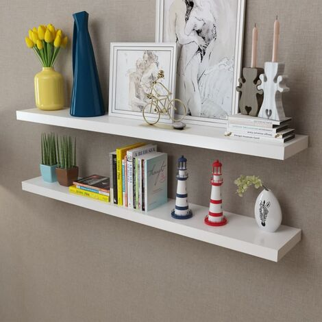 2 White MDF Floating Wall Display Shelves Book/DVD Storage - White