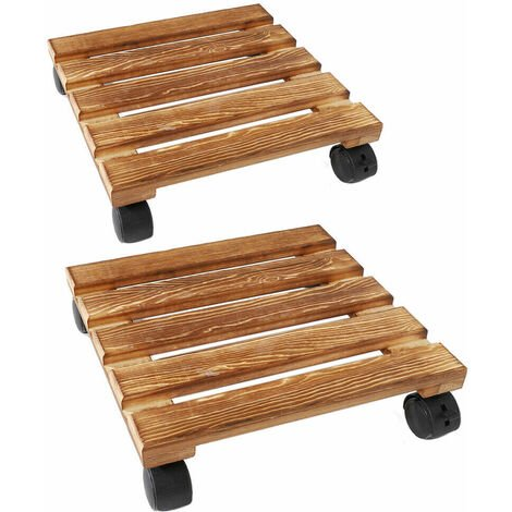 """main image of """"2 Wooden Heavy Plant Pot Locking Wheels Mover Garden Planter Caddy Trolley Stand"""""""