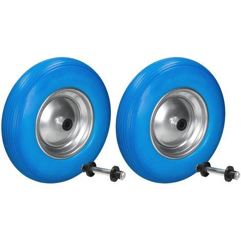"2 x 15"" Roue brouette gomme plein PU bleu 4.80 / 4.00-8 Ø 390 mm axe inclus"