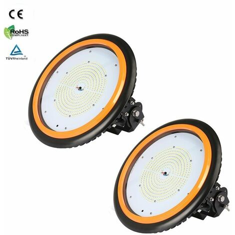 2 x 150W 22000LM LED High Bay Low Bay Light Commercial Ceiling Industrial Light UFO IP65 Natural White for Warehouse Workshops
