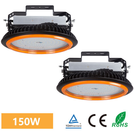 2 x 150W 22000LM LED High Bay Low Bay Light Commercial Ceiling Industrial Light UFO IP65 White for Warehouse Workshops