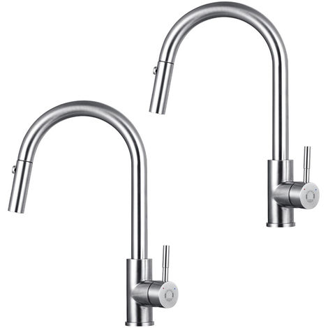 2 x 2 Modes Stainless Steel Single Handle Pull Out Spout Kitchen Sink Kitchen Tap Monobloc Mixer Pull Down Kitchen Sink Tap