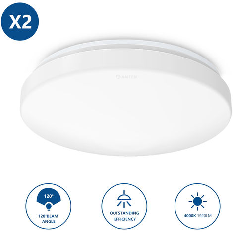 2 x 24W LED Ceiling Light IP20 1920LM Natural White Flush Mount Lighting for Kitchen Bathroom