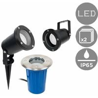 2 x 3 in 1 Ground/Wallpike Outdoor Lights in a Black Finish - IP65
