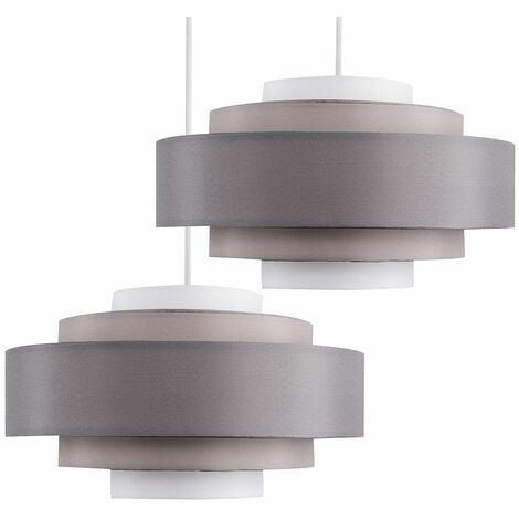 2 x 5 Tier Cylinder Ceiling Pendant Light Shades in 3 Tone Grey