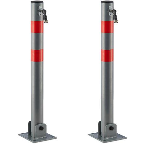 2 x Absperrpfosten rund, Parkplatzsperre klappbar, Parkpfosten mit Warnstreifen, 3 Schlüssel