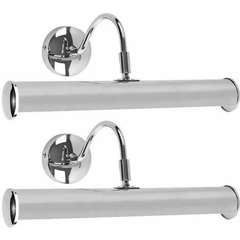 2 x Adjustable Twin Picture Wall Lights In A Chrome Finish