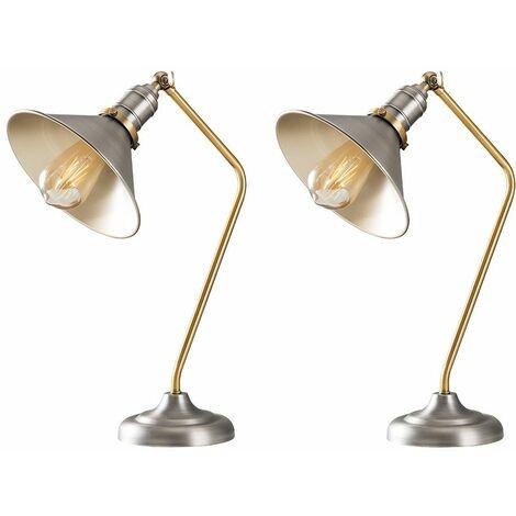 2 x Aged Nickel & Gold Metal Adjustable Bedside Desk Table Lamps