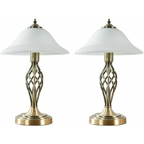 2 x Antique Brass Barley Twist Table Lamps Frosted Alabaster Shade - No Bulbs