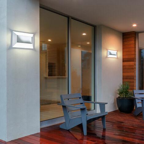 2 x applique DEL luminaire mural lampe LED espace extérieur garage acier inoxydable
