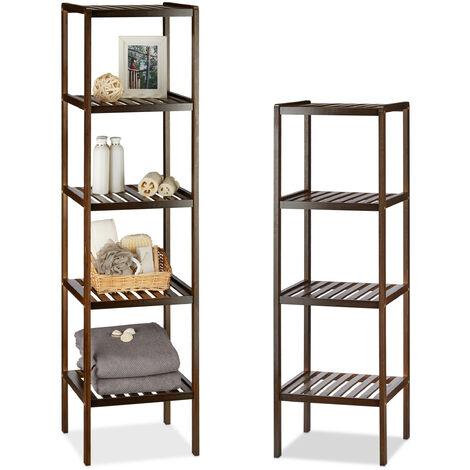 2 x Bambusregal mit 4 und 5 Ablageflächen, hohes Standregal, Holzregal für Küche und Flur, dunkelbraun