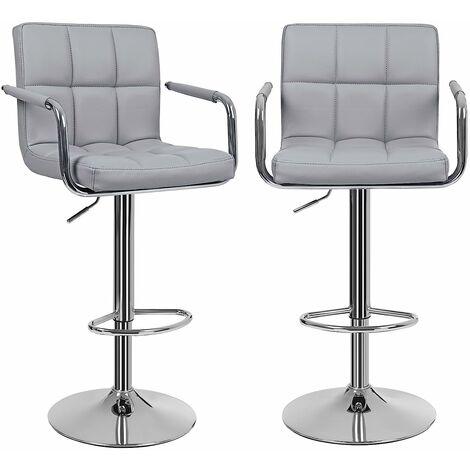 2 x Barhocker mit Armlehnen Lehne Belastbar bis 200kg Schwarz/Grau/Weiß