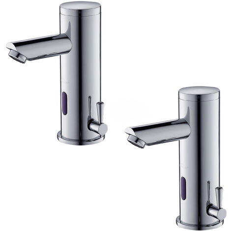 2 x Bathroom Automatic Sensor Faucet Chromed Cold and Warm Water Mixer Tap Basin Mixing Tap