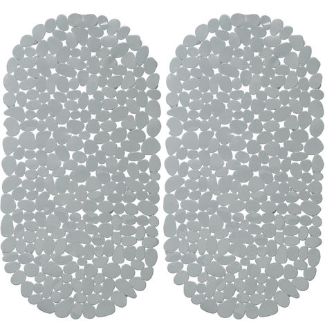 2 x Bathtub Mat, Pebble Design, Non-Slip Bath or Shower Insert, Suction Cups, LxW: 66.5 x 34.5 cm, Grey