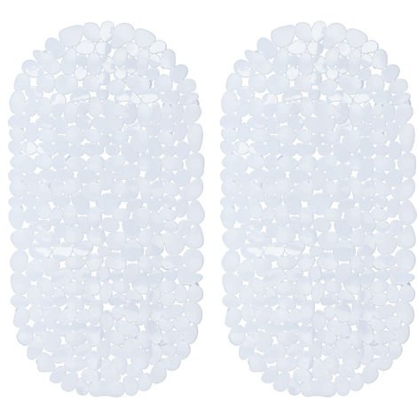 2 x Bathtub Mat, Pebble Design, Non-Slip Bath or Shower Insert, Suction Cups, LxW: 66.5 x 34.5 cm, White